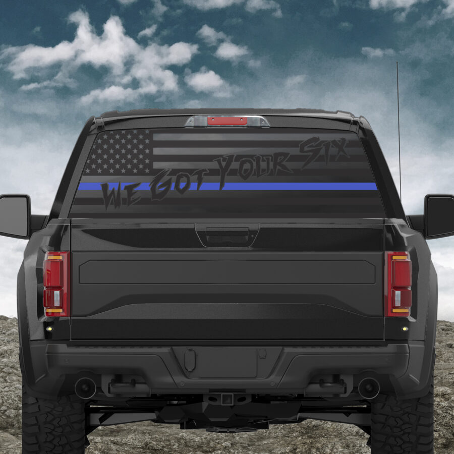 thumb 1 900x900 - We Got Your Six Thin (Red, Blue or Green) Line - Back Window Decal