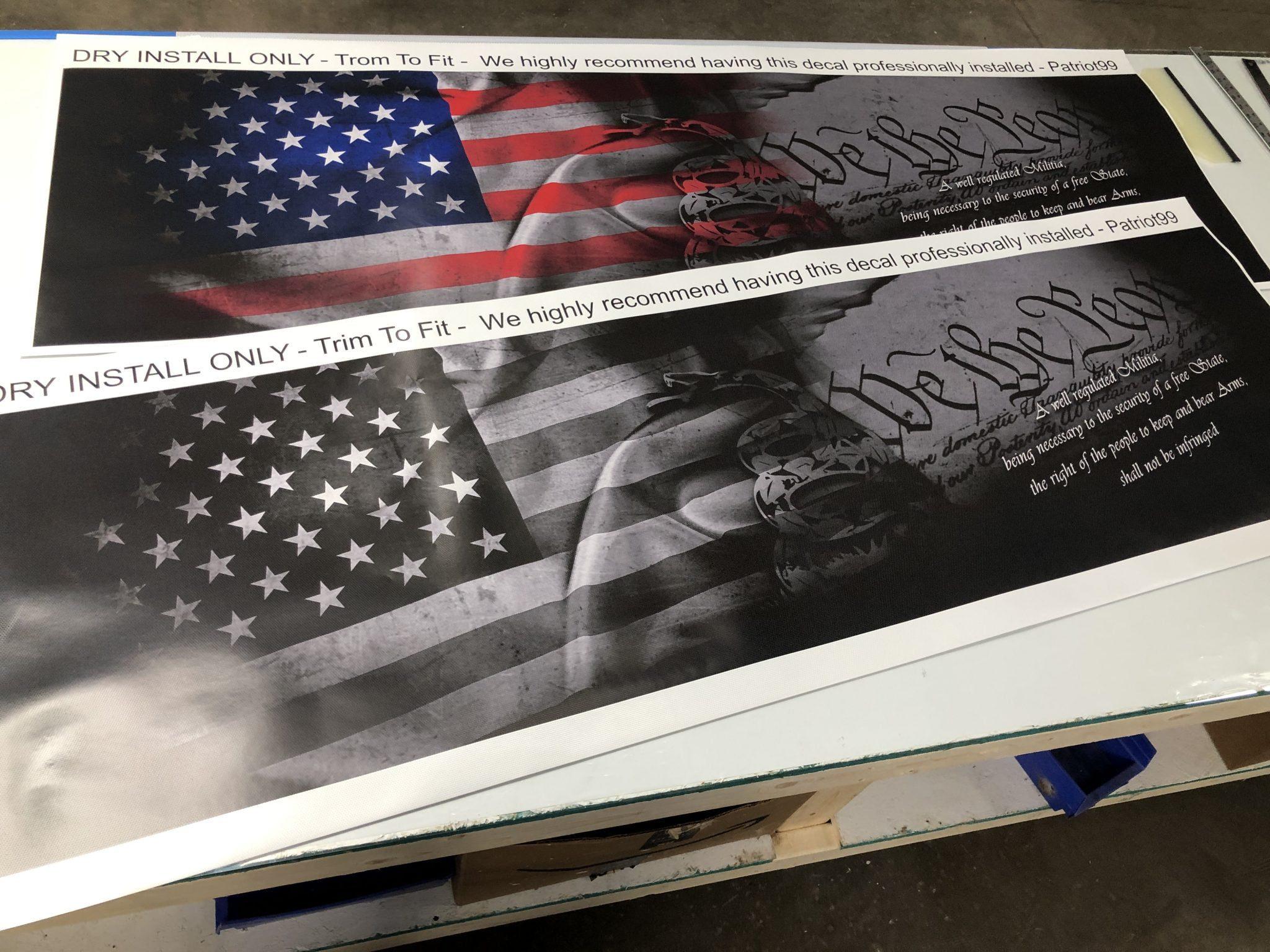 Iowa State Patriotic Window Decal Printed on Window Perf Vinyl.